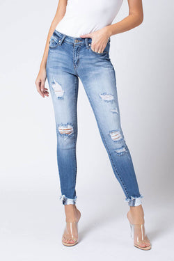 KanCan Jeans Mid Rise Distressed Ankle Skinny Jeans for Women in Medium Wash