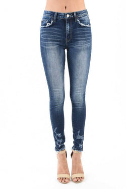 Kancan Jeans Destructed Ankle Super High Rise Skinny Jeans For Women In Medium Wash | KC5102D