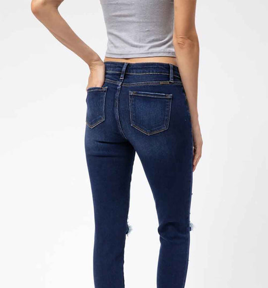KanCan Jeans Mid Rise Distressed Skinny Jeans for Women in Dark Wash