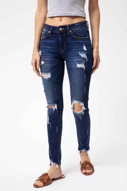 KanCan Skinny Jeans Mid Rise Distressed Skinny Jeans for Women in Dark Wash