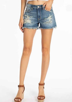 KanCan Shorts Distressed Mid Rise Denim Shorts for Women in Medium Wash