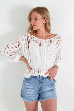 Miracle Clothing Open Chenille Knit Sweater in Ivory