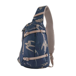 Patagonia Atom 8L Sling Bag in Tropical Birds Tidepool Blue
