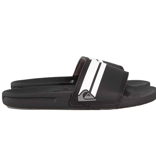 Quiksilver Rivi Slides for Men in Black and White