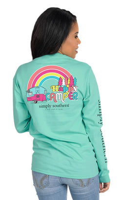 Simply Southern Shirts Long Sleeve Happy T-Shirt for Women in Aruba