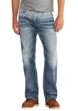 Mens Silver Jeans Craig Easy Fit Bootcut Jeans in Indigo Wash