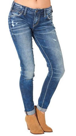 Silver Jeans Destructed Skinny Leg Girlfriend Jeans in Dark Wash for Women L27137SJL388