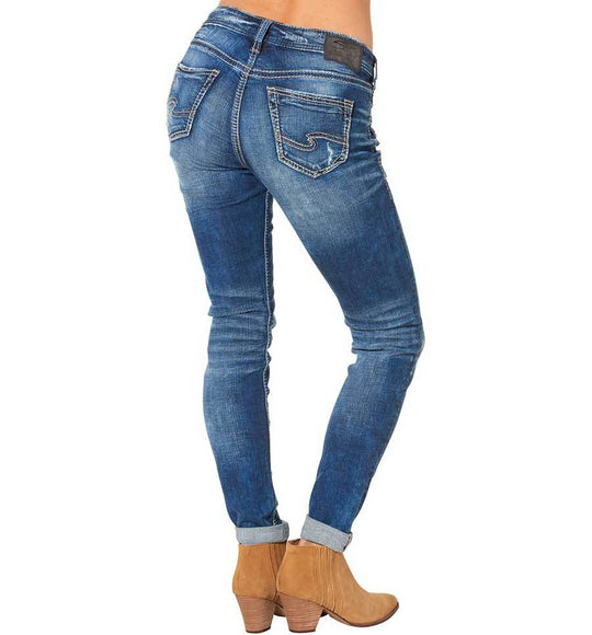 Silver Jeans Destructed Skinny Leg Girlfriend Mid Rise in Dark Wash for Women L27137SJL388