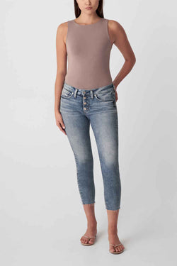 Silver Jeans Suki Skinny Crop Jeans for Women in Light Wash