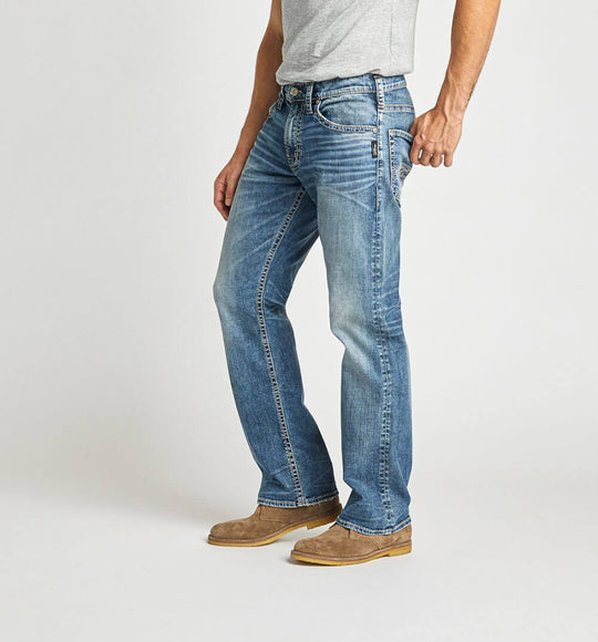 Silver Jeans Zac Relaxed Fit Straight Leg Jeans for Men in Medium Wash