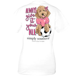 Simply Southern Shirts Plus Size Soccer T-Shirt for Women in White