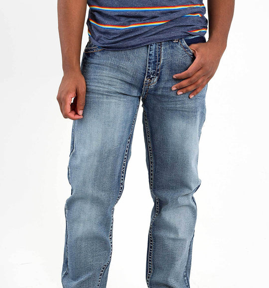 True Luck Jeans Ramsey Straight Stretch Jeans in Medium Wash TL19150017