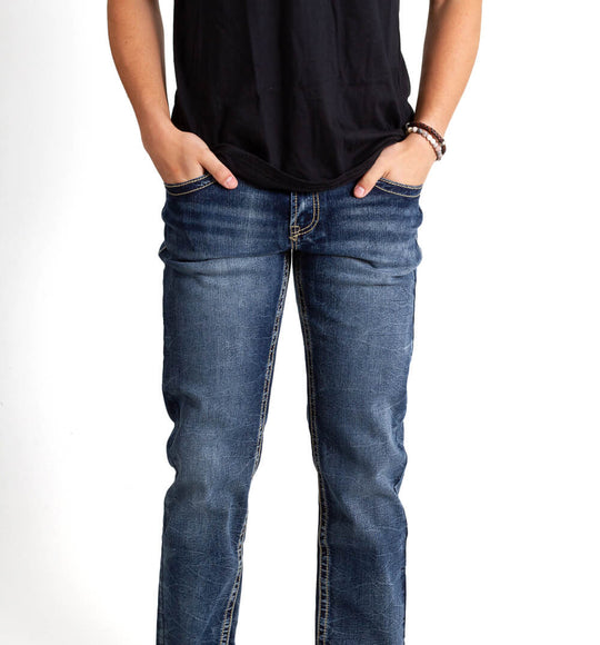 True Luck Jeans Jefferson Straight Leg Jeans for Men in Dark Blast