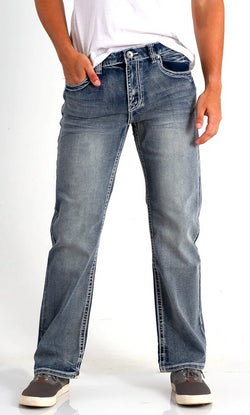 True Luck Jeans Dominic Bootcut Stretch Jeans in Medium Wash