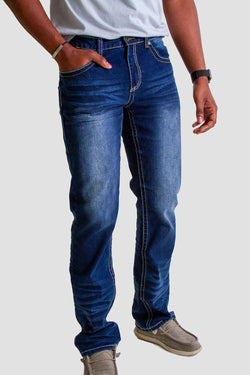 True Luck Jeans Samson Bootcut Jeans for Men in Dark Wash