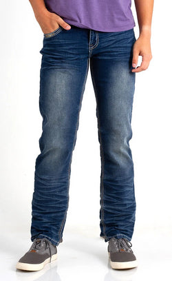 True Luck Jeans Liam Straight Leg Jeans for Men in Medium Wash