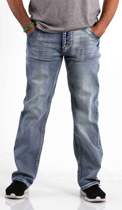 True Luck Jeans Kirk Bootcut Stretch Jeans In Medium Wash
