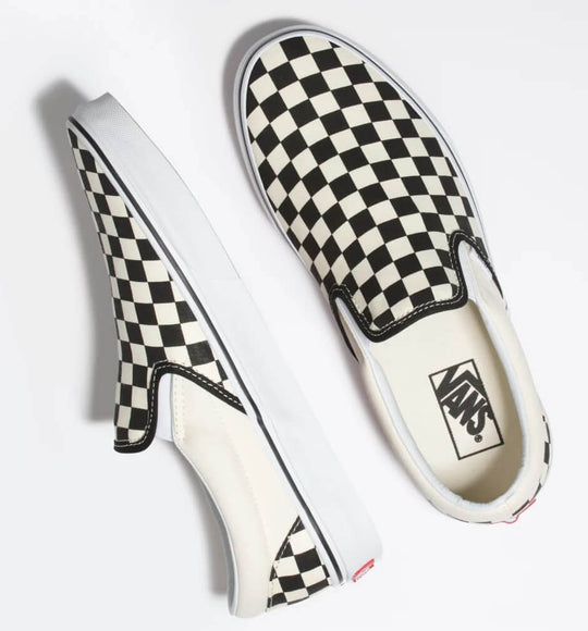 Vans Shoes Checkerboard Slip On Sneakers in Black and Off White