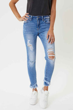 KanCan Skinny Jeans Double Fray Ankle Distressed Skinny Jeans for Women in Medium Wash