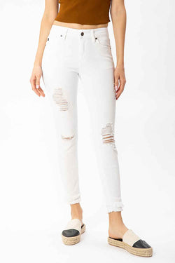 KanCan Jeans Double Fray Ankle Distressed Skinny Jeans for Women in White