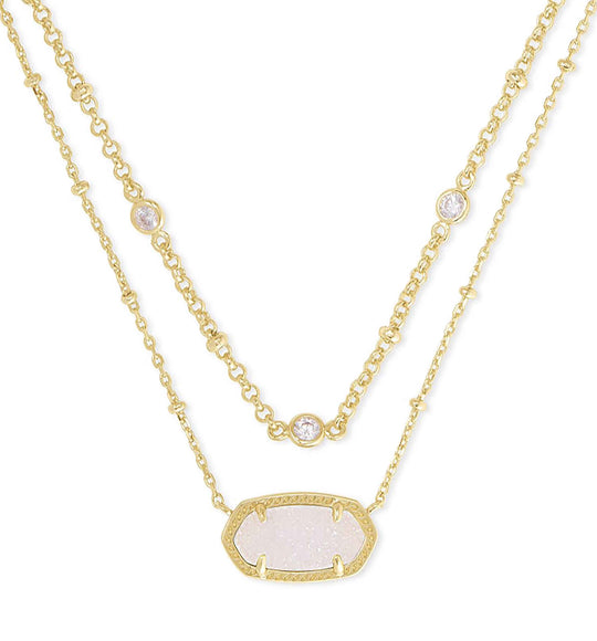 Kendra Scott Elisa Gold Multi Strand Necklace in Iridescent Drusy