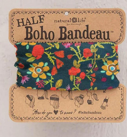 Natural Life Half Boho Bandeau Headband and Accessory in Forest Flower