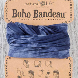 Natural Life Boho Bandeau Headband and Accessory in Navy Tie Dye