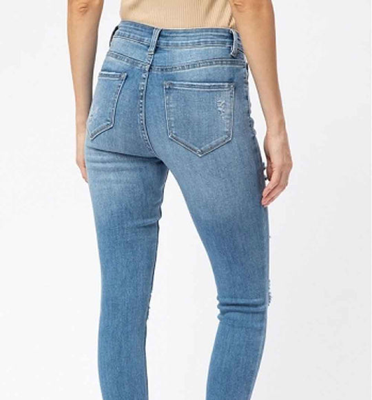 Nature Jeans High Rise Distressed Skinny Jeans for Women in Medium Wash