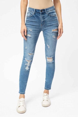 Nature Denim Jeans High Rise Distressed Skinny Jeans for Women in Medium Wash