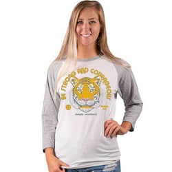 Simply Southern Shirts Strong Raglan T-Shirt for Women in White Gray