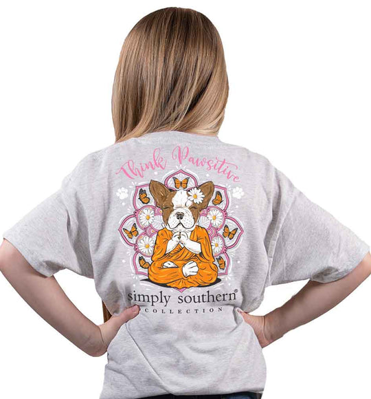 Simply Southern Shirts for Kids Youth Size Pawsitive T-Shirt for Girls in Ash