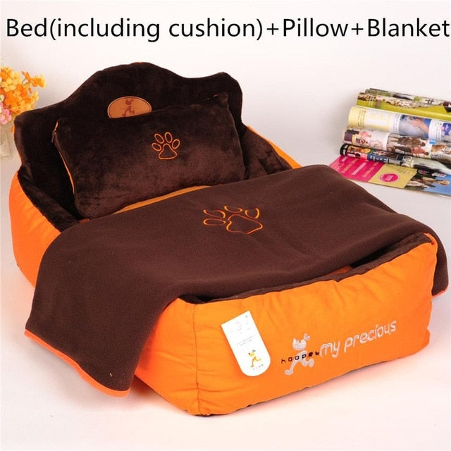 Premium bed with double-sided cushion, soft pillow & blanket