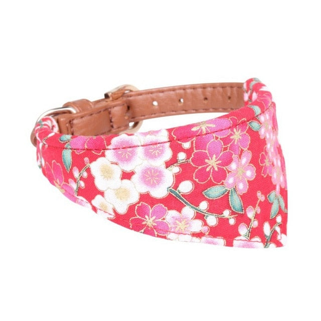 Floral Bow / Bandana collar with optional matching leash