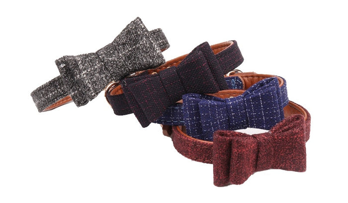 Plaid Bow / Bandana collar with optional matching leash