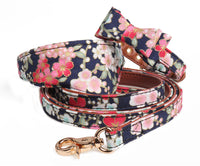 Flower-print Bow / Bandana collar with optional matching leash