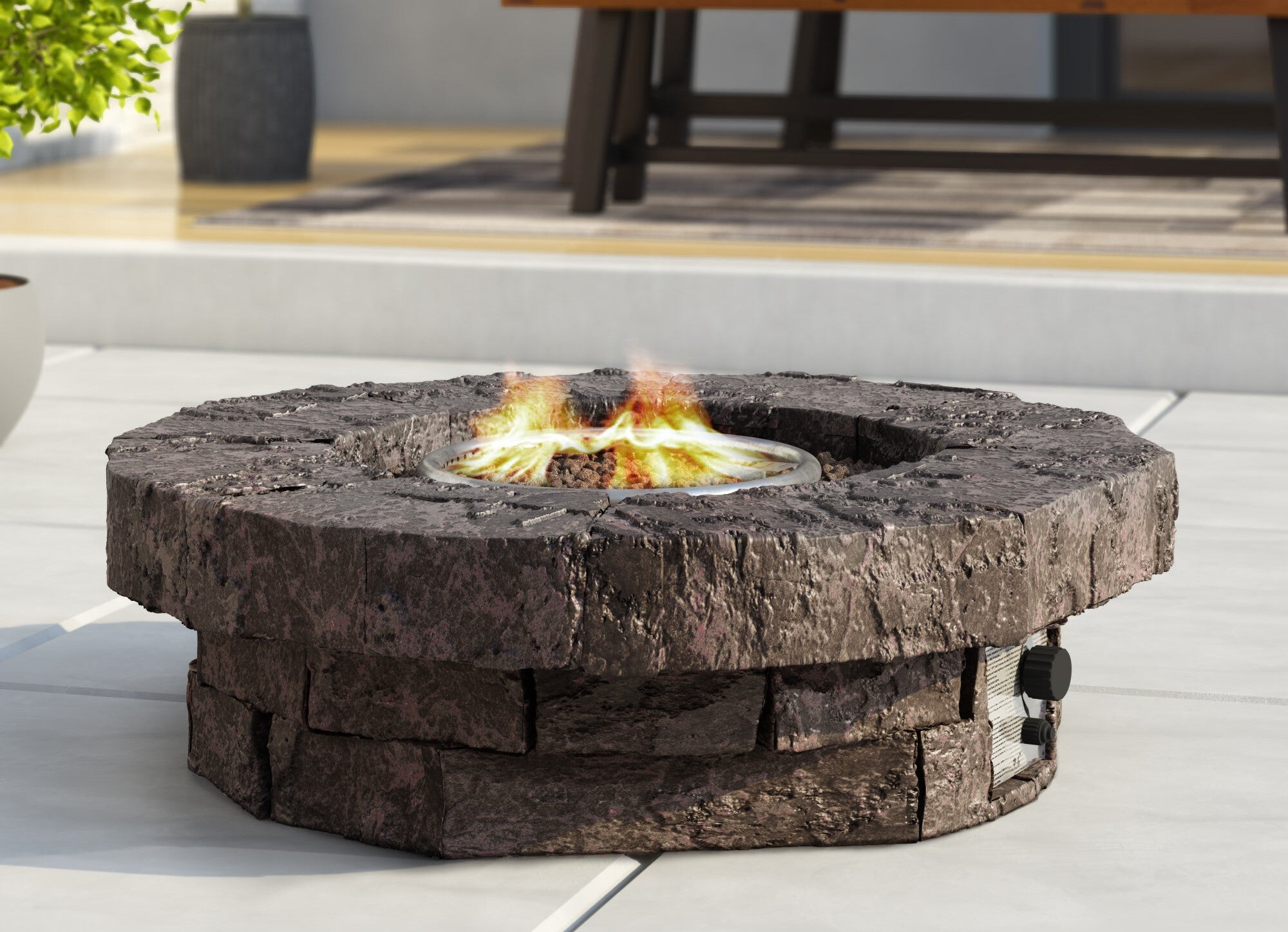 kimily round propane fire pit