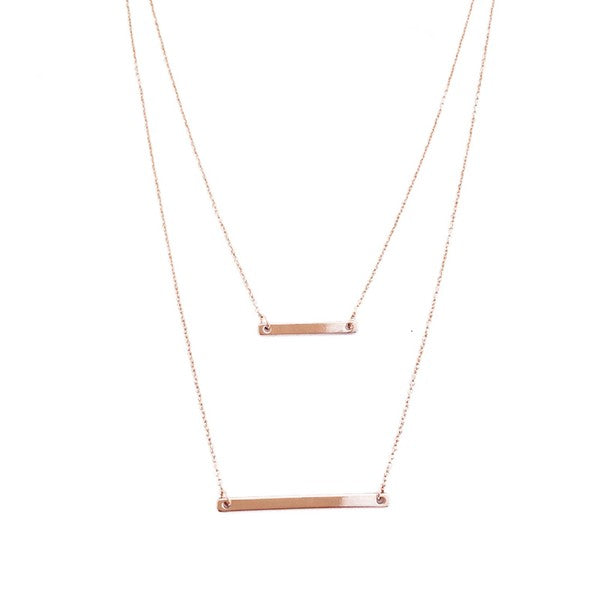 Rose Gold Layered Bar Necklace