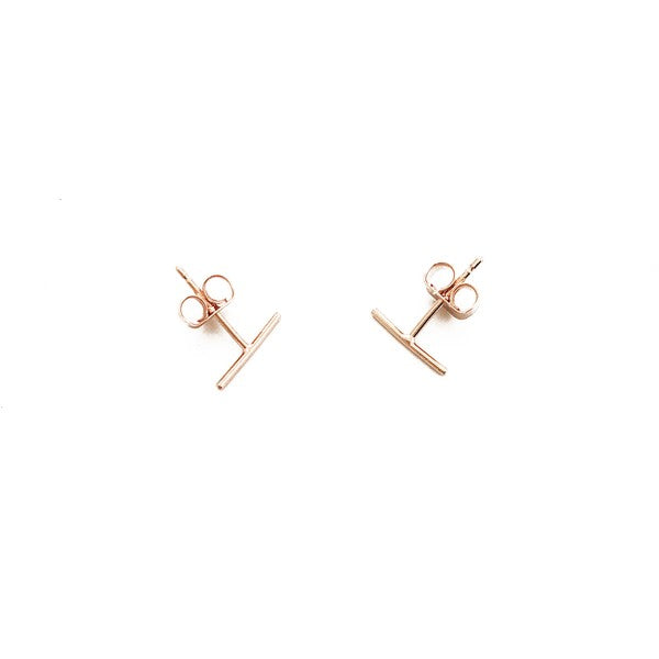 Rose Gold Skinny Midi Bar Studs