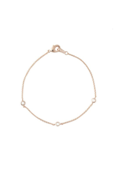 Rose Gold Crystal Bezel Trio Bracelet
