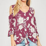 Wine Cold-Shoulder Top