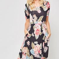Black Floral Short Sleeve Midi Dress