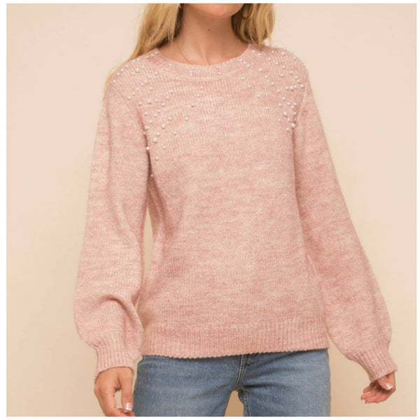 Mauve Pearl Bubble Sleeve Sweater