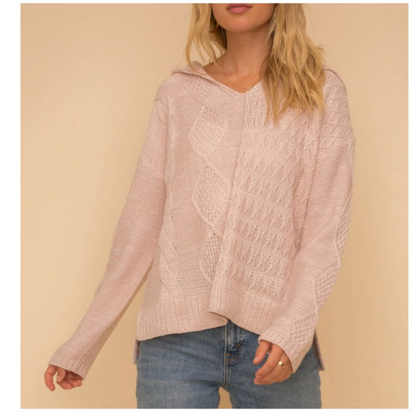 Blush Cable Hoodie Sweater