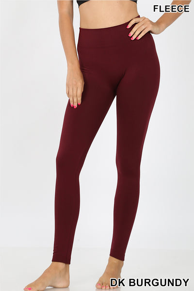 Dark Burgundy Tummy Control Fleece Seamless Leggings
