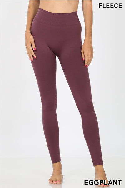 Eggplant Fleece Seamless Leggings