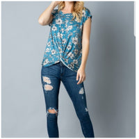 Short Sleeve Blue Twisted Knot Top