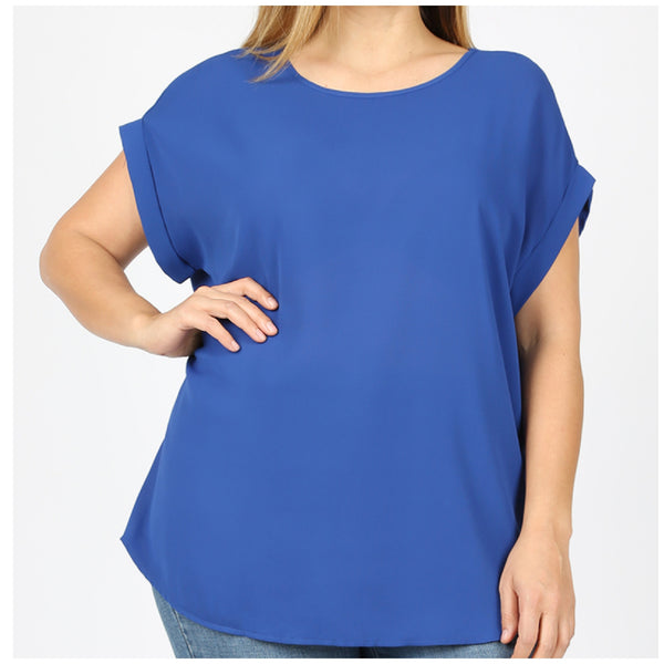 Plus Size Blue Rolled Sleeve Top