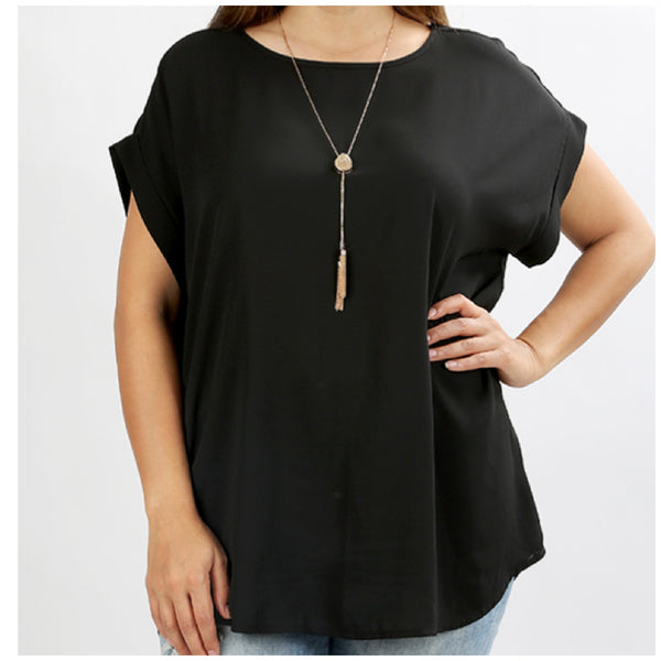Plus Size Black Rolled Sleeve Top
