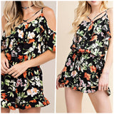 Black Floral Off The Shoulder Romper