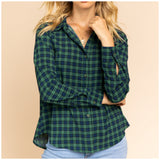 Green and Blue Plaid Blouse